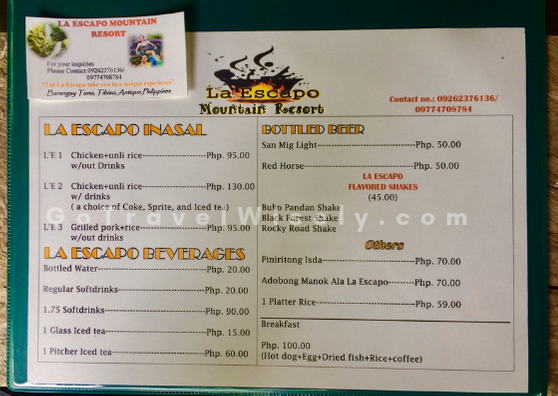 Menu of La Escapo Mountain Resort | Go Travel Wisely